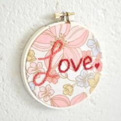 Love. Floral Mothers Day Ornament. Rose Pink and Red