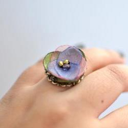 Bella - Adjustable Fabric Flower Ring by KimArt